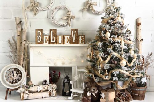 Birch Believe Blocks Christmas Backdrop