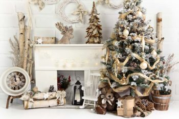 Birch Fireplace Christmas Backdrop