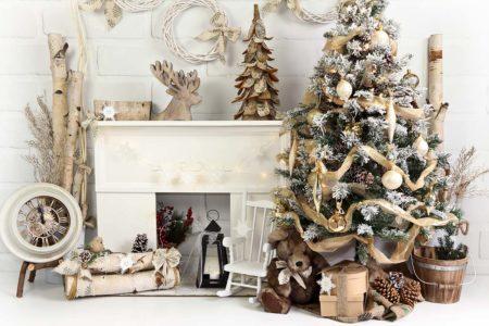 Birch Fireplace Christmas Backdrop
