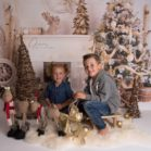 Children Christmas Photography with Birch Fireplace Backdrop by Julie Cera
