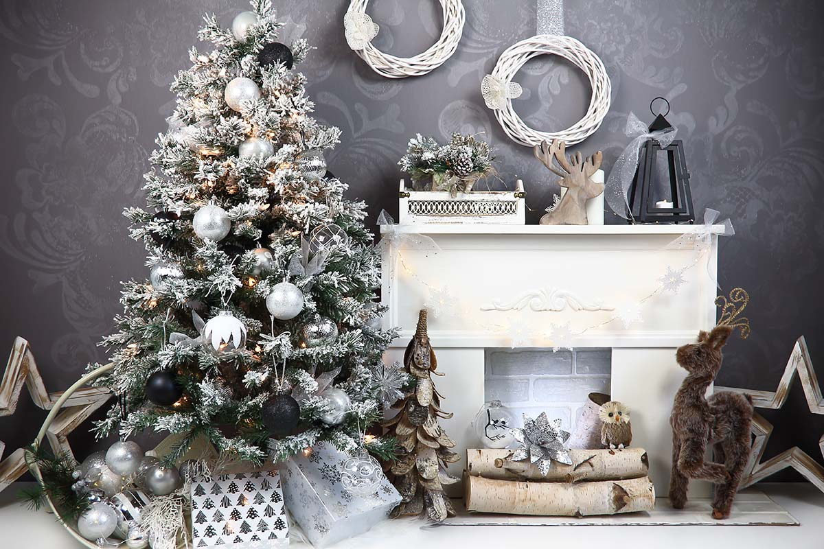 Charcoal & Silver Christmas Backdrop