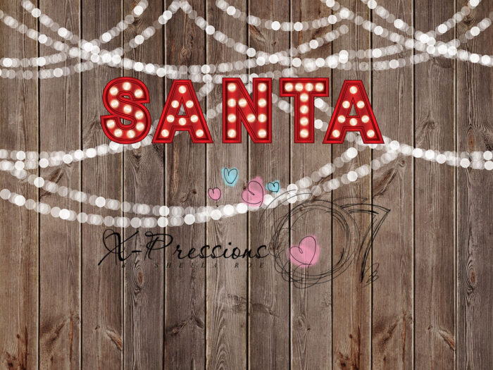 Red Neon Santa Light Backdrop