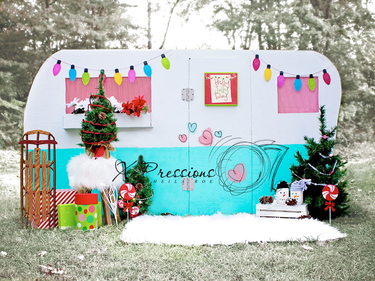 Trailer decorated for Christmas Backdrop