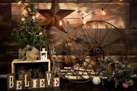 Rustic Believe Christmas Backdrop