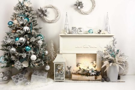 Silver & Teal Fireplace Backdrop