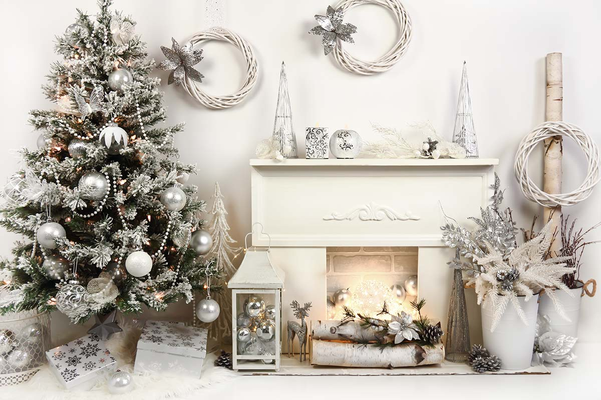 Silver & White Fireplace Backdrop