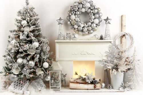 Rayelle Silver Christmas Backdrop with Fireplace