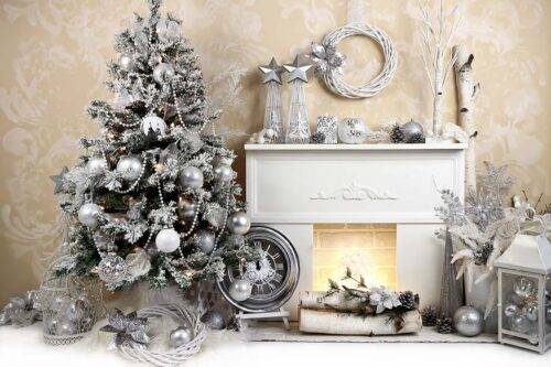Silver & Cream Fireplace Backdrop