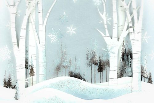 Blue Winter Forest Backdrop
