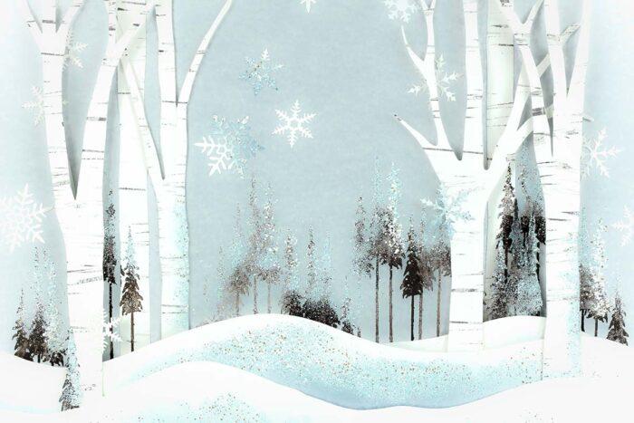 Blue Winter Forest Backdrop
