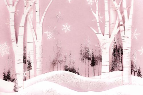Pink Winter Forest Backdrop