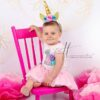 Unicorn Birthday Photoshoot with Gold Balloons Backdrop