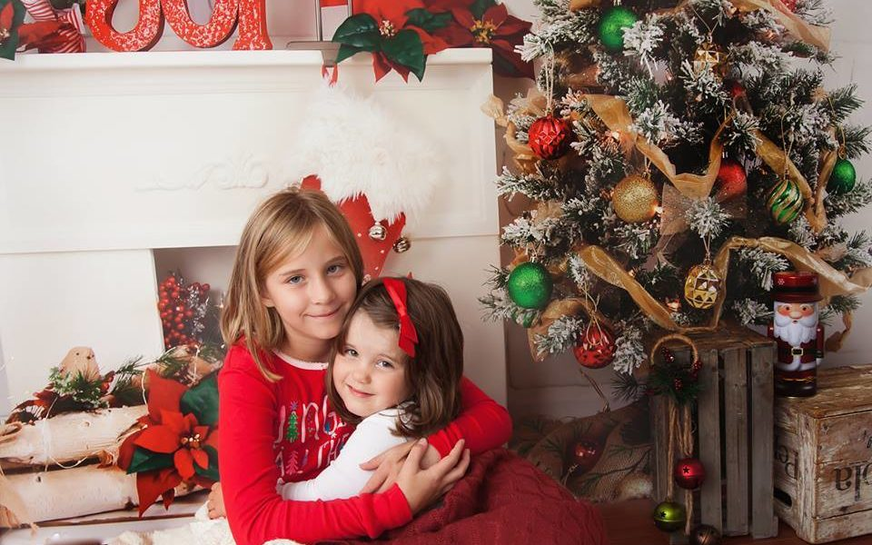 Children Christmas Photo Shoot in front of Fireplace by Sharon Verbeek