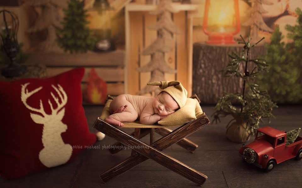 Lumberjack Photoshoot with newborn by Corrie Michael Photography
