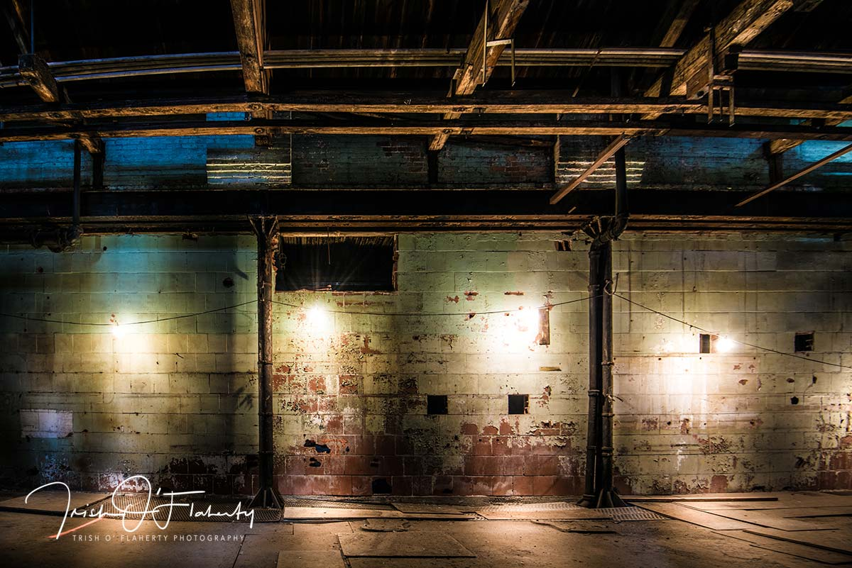 String of Lights in an Abandoned Factory