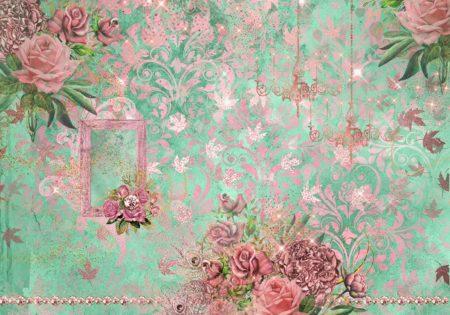 Glitzy Pink Mint Vintage Backdrop