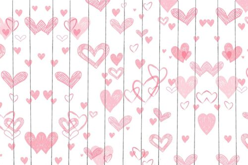 Pink Hearts on White Planks Backdrop