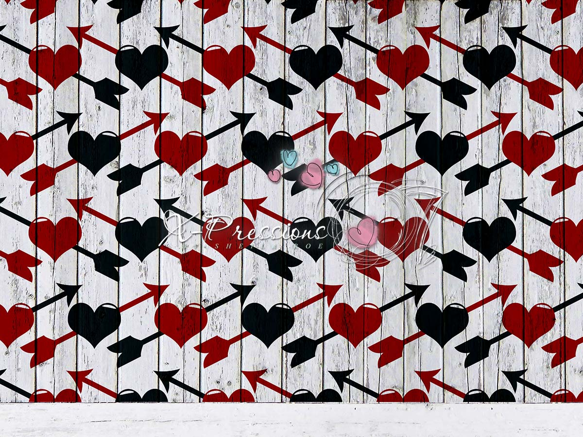 Arrows through Heart Valentine's Day Backdrop on Grey Wooden Boards