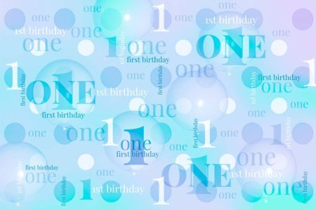 First Birthday Backdrop Purple & Teal