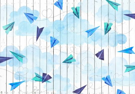 Paper Airplanes & Blue Clouds Backdrop