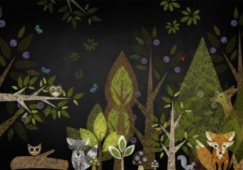 Woodland Animals Chalkboard Backdrop