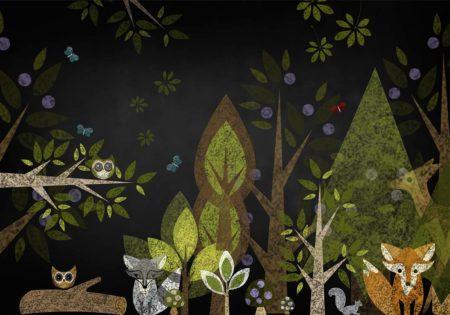Woodland Animals Chalkboard Backdrop