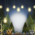 Woodland Lights Backdrop with Animals