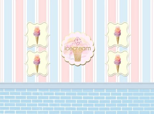 Ice Cream Shop Backdrop in Blue