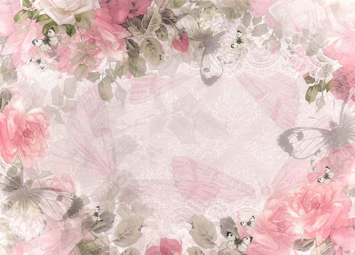 Kate Floral Pink Backdrop