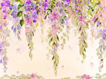 Misty Pink & Purple Watercolour Floral Backdrop