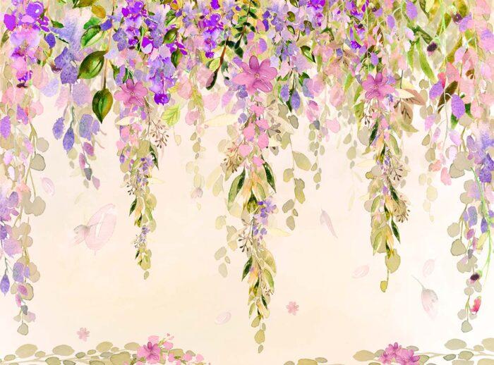Misty Pink & Purple Watercolour Floral Backdrop