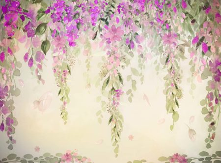 Misty Pink & Green Watercolour Floral Backdrop