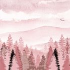 Misty Mountain Pink Forest Nature Backdrop