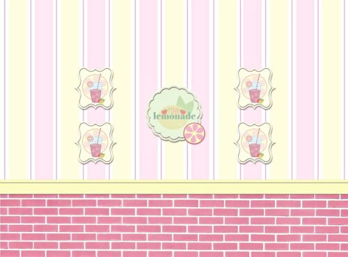 Pink Lemonade Shop Backdrop with Pink Brick