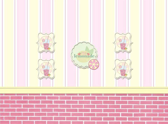 Pink Lemonade Shop Backdrop with Pink Brick