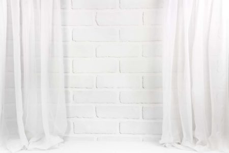 White Brick with Sheer Curtains Backdrop