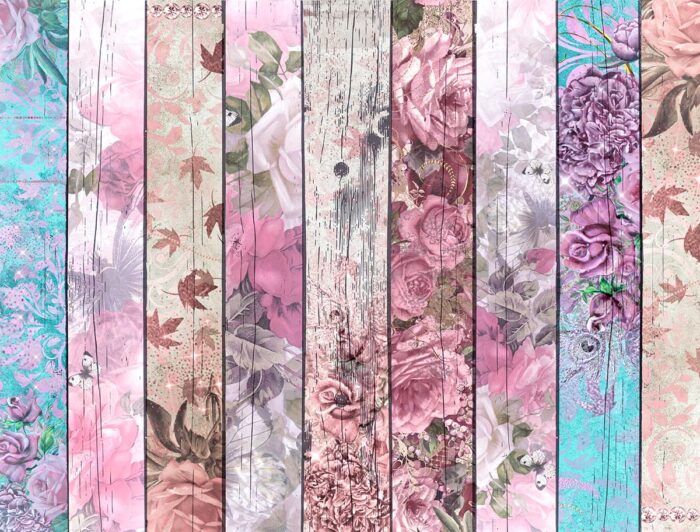 Floral Wood Boards Backdrop