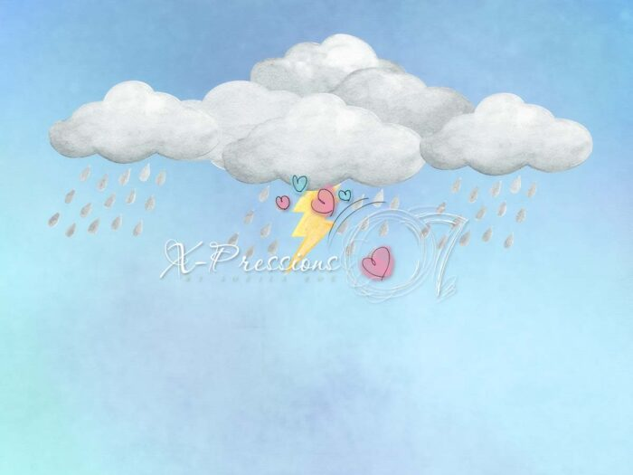Clouds & Lightning Bolt Backdrop