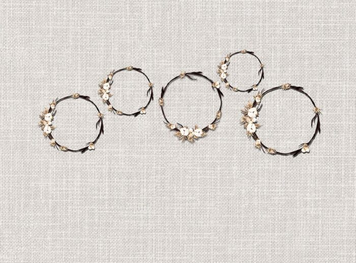 Floral Wreaths Backdrop on Linen Background