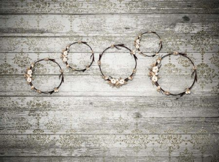 Floral Wreaths Backdrop on Shabby Grey Wooden Background