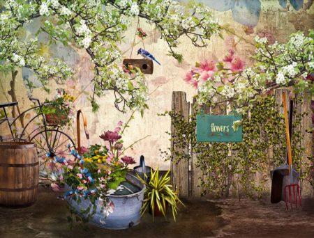Spring Backdrop Garden Tub