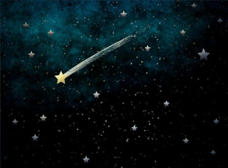 Blue & Black Night Sky Backdrop with Shooting Star