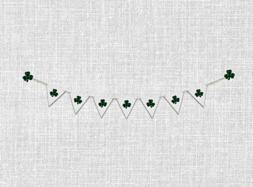 St. Patrick's Day Backdrop with Shamrock Banner on Canvas