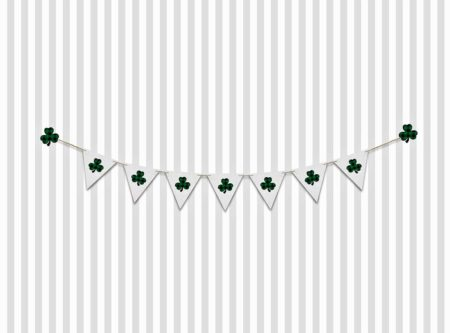 St. Patrick's Day Backdrop with Shamrock Banner on Stripes
