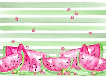 Watermelon Striped Photography Backdrop