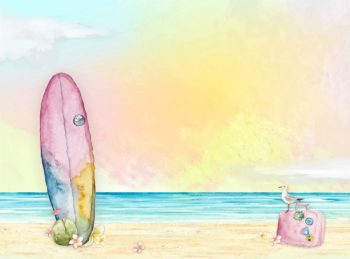 Beach Inspired backdrop in pinks