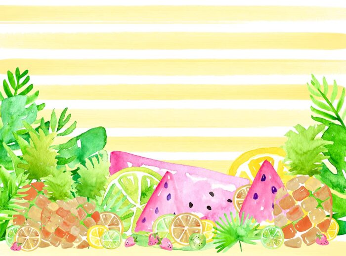 Tropical Fruit Striped Photography Backdrop