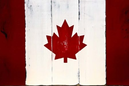 Canada Flag on Wood Photography Backdrop