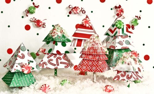 Red, Green & White Trees Photography Backdrop