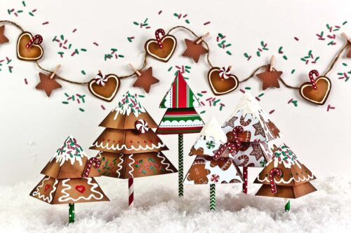 Gingerbread trees Photography Backdrop